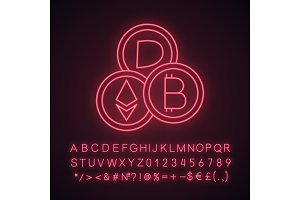 Cryptocurrency neon light icon