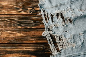 top view of light denim textile on w