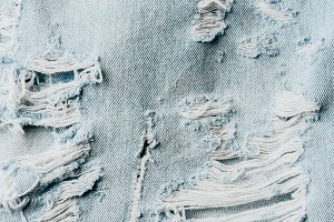 top view of blue denim textile as ba