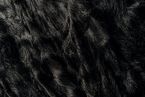 elevated view of furry black textile