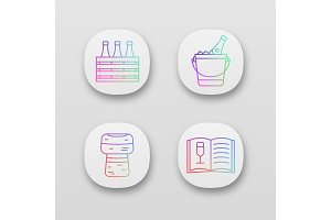 Alcohol app icons set