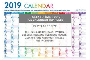 2019 US Calendar Poster Template