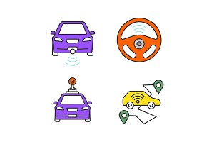 Smart cars color icons set