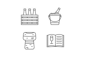 Alcohol linear icons set
