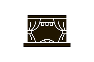 Theater stage glyph icon