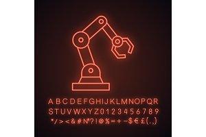 Industrial robotic arm neon icon