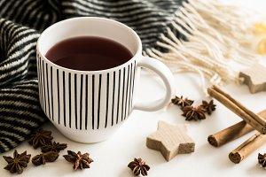 Hot tea and Christmas decoration