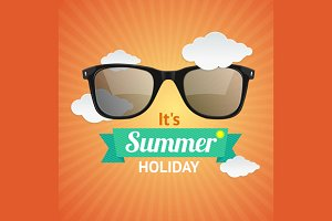 Vector sunglasses summer card