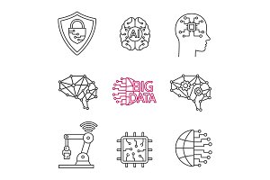 Artificial intelligence linear icons