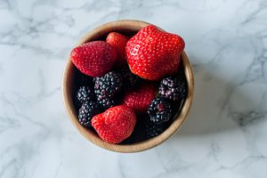 Juicy strawberries and blackberries