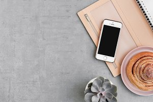 Phone Photo Mockup Flat Lay