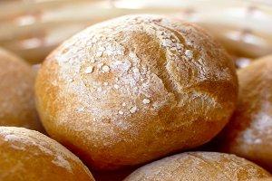Wicker basket with bread