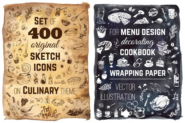 Hand-drawn cooking and food icons