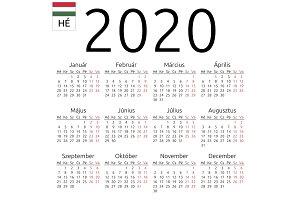 Calendar 2020, Hungarian, Monday