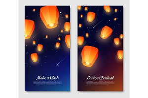 Banners with sky lanterns