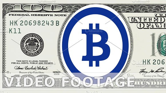 Bitcoin Logo In 100 Dollar Bill Graphics