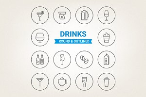 Circle drinks icons