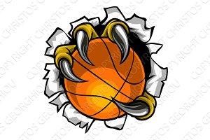 Basketball Ball Eagle Claw Tearing
