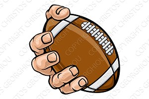 Hand Holding American Football Ball