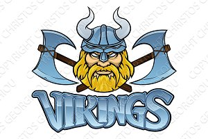 Viking Warrior Mascot Crossed Axes