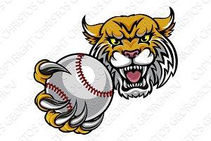 Wildcat Holding Baseball Ball Mascot