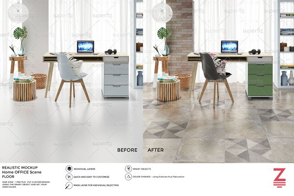 Floor&Wall Mockup HomeOffice SM30