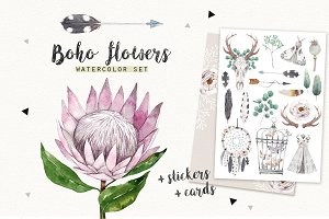 BOHO FLOWERS watercolor set