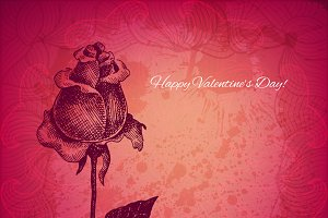 Ink style rose valentine card