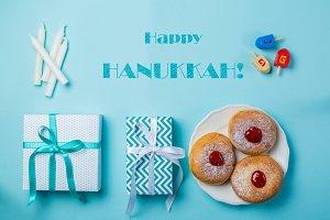 Symbols of hanukkah on blue
