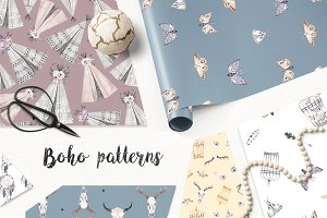 BOHO PATTERNS watercolor set