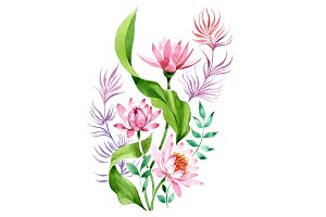 Ornament of pink lotus PNG set