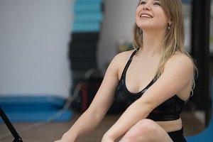 Girl in yoga class posing. Healthy