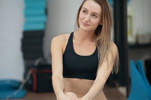 Beautiful young blonde woman in yoga