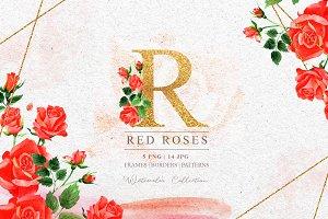 R-rose PNG watercolor set