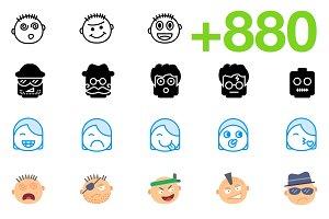 SMASHICONS - 880+ Emoticons Icons -