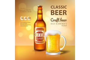 Craft Beer in Bottle and Mug with
