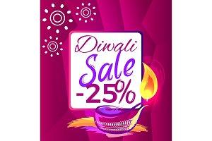 Diwali Sale -25% off Sign Vector