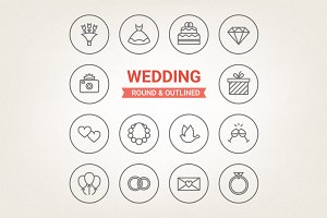 Circle wedding icons