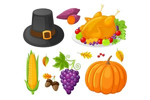 Pumpkin Thanksgiving Day Corn Icons