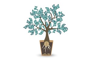 Money tree. Isolated vector object