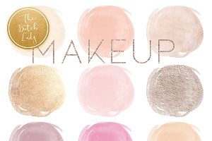 Watercolor Makeup Circle Clipart Set