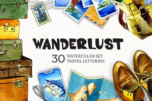 Wanderlust Watercolor Clipart Set