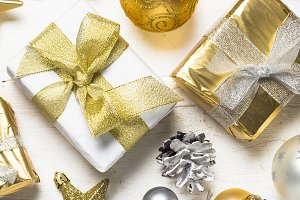 Gold and silver christmas present