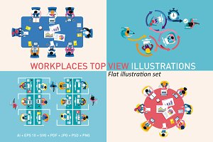 Workplaces top view illustrations
