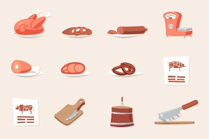 Meat Butcher Shop Retro Icons