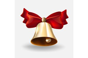 realistic bell with red bow