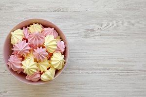 Mini meringues in a pink bowl