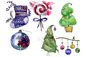 New Year decoration PNG watercolor