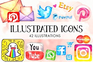Watercolor Icons Set Social Media