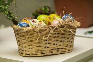 Basket of painted eggs